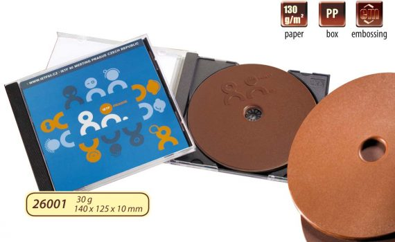 Advertising chocolate CD 35 g in plastic box