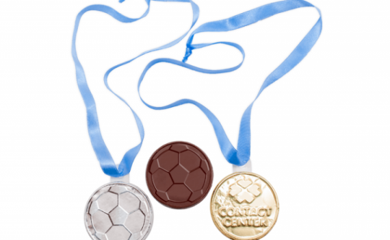 Chocolate Medals 66mm with Ribbon