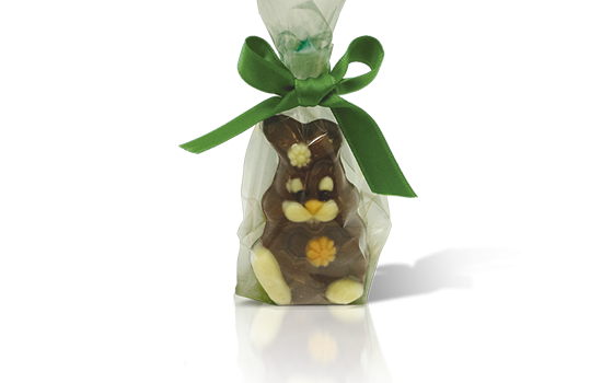 Chocolate rabbit in bag