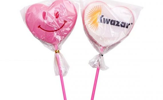 Heart Lollipop with Printed Wafer