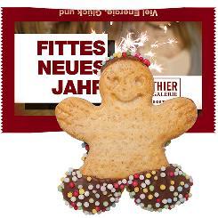 Happy man cookie in flowpack