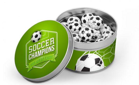 Mini chocolate fotball balls in tin box