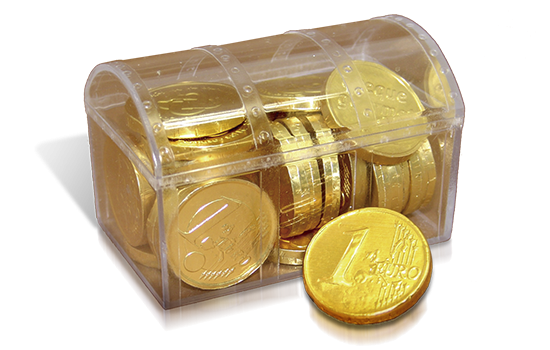 Plastic chest with chocolate coin