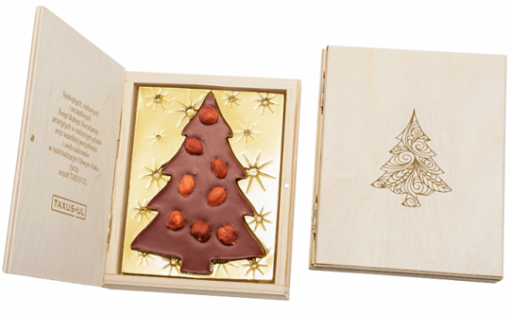 Christmas Tree with Hazelnuts in Wood