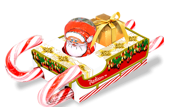 Promotion box with sled shape