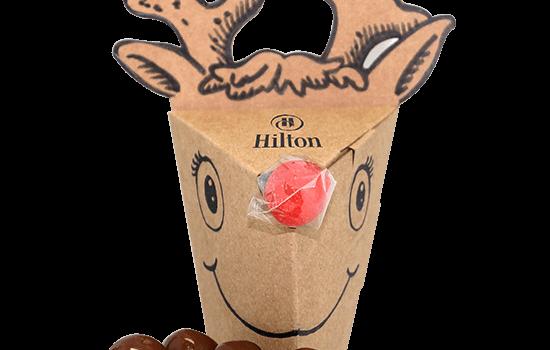 Promotion reindeer shape filled with cereal balls