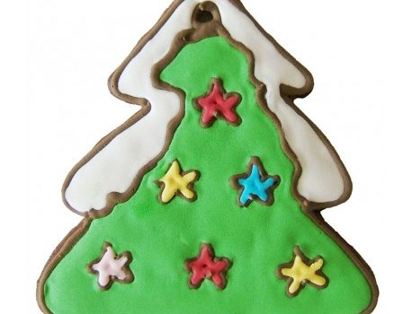 Gingerbread with the shape of a christmas tree