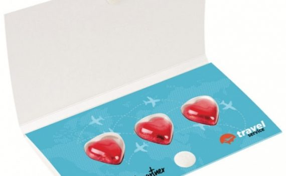 Promotional 3 chocolate hearts in envelope