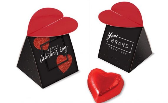 Valentine box with chocolate heart