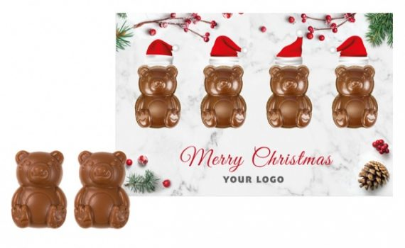 Christmas card with chocolate teddy bears