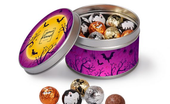 Halloween mini tin with chocolate balls