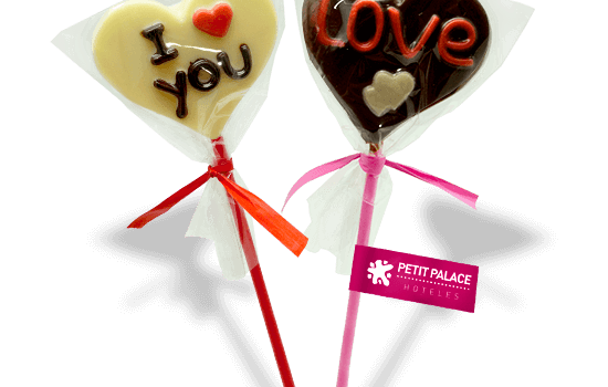 Heart chocolate lollipop with message