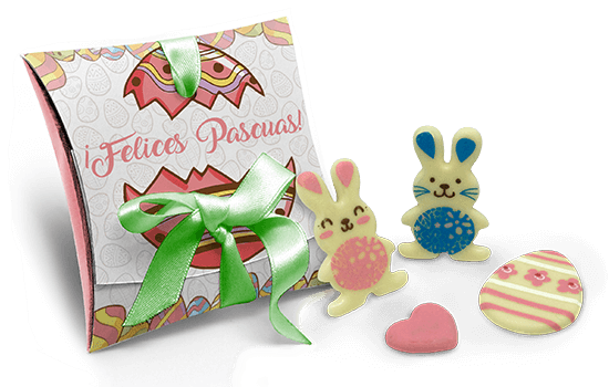 Cardboard with Easter chocolate rabbits
