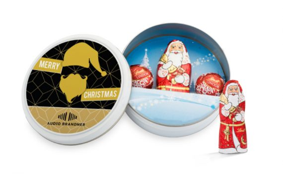 Christmas Lindt chocolate Santa Claus and Lindor mini balls in tin