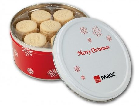 Christmas small round tin with biscuits