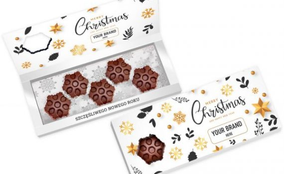 Christmas snowflake-shaped chocolates 5 pcs