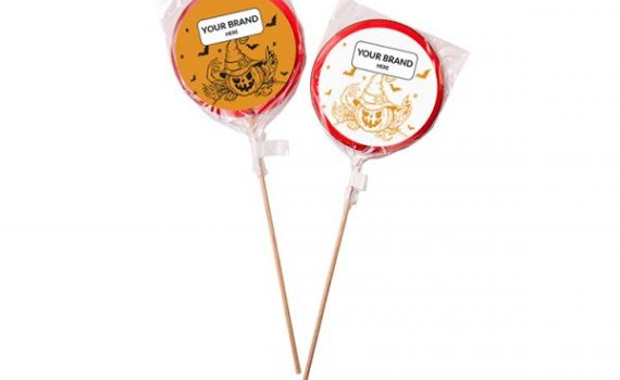 Halloween 80 mm Single-Color Lollipop with Promotional Sticker