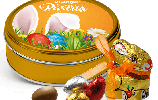 Promotion Easter tin with chocolate eggs