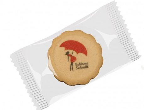 Round biscuit with direct colour print