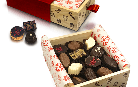 Wooden box with Christmas chocolates