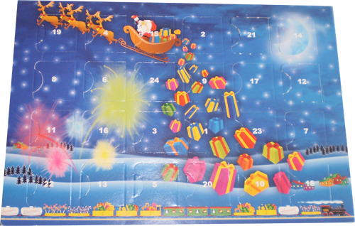 Advent calendar A5 40g - Santa with gifts