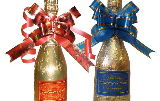 Chocolate Champagne Bottle 250g with ribbon