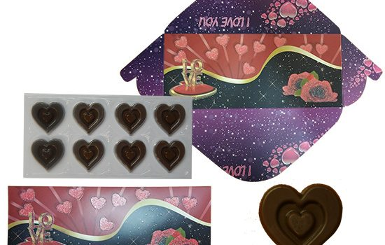 Envelope 60g - Chocolate hearts LOVE