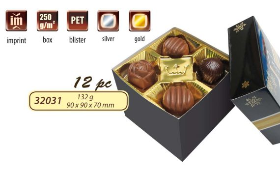 Advertising box with belgian pralines, 132 g