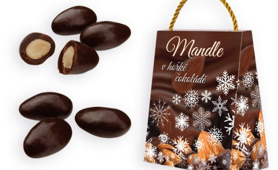 Almonds in dark chocolate in gift box, 250 g