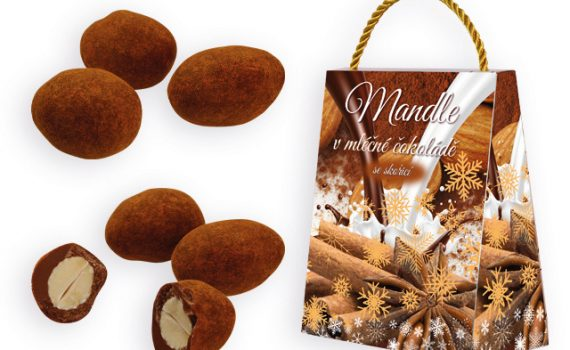 Almonds in milk chocolate with cinnamon in a gift box, 200 g