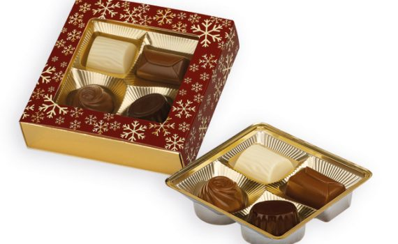 Belgian pralines 4 pcs in gift box with Christmas motif 50 g