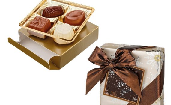 Belgian truffles of dark, milk and white chocolate in a gift box, 50 g