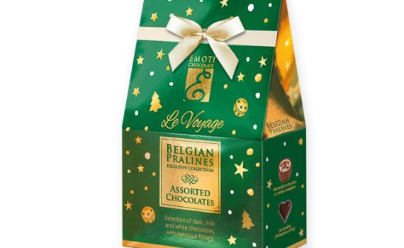 CHRISTMAS SWEETNESS Selection of Belgian pralines with filling in gift box, 75g