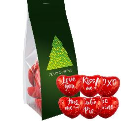 Chocolate hearts 50g, pouch with promotional flyer
