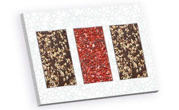 Chocolate with strawberry and hazelnut