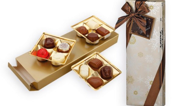 Belgian dark, milk and white chocolate pralines in gift box, 150 g