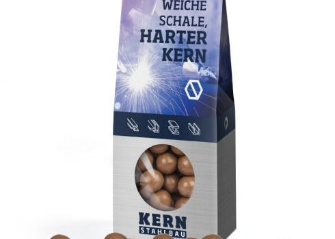 Hazelnuts in milk chocolate in block bottom carton