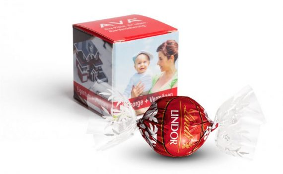 Lindt Lindor chocolate truffle in personalized carton cube