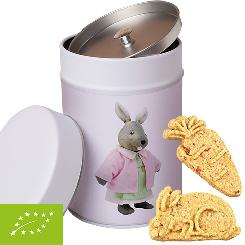 Organic carrot cookies, ca. 100g, metal tin maxi