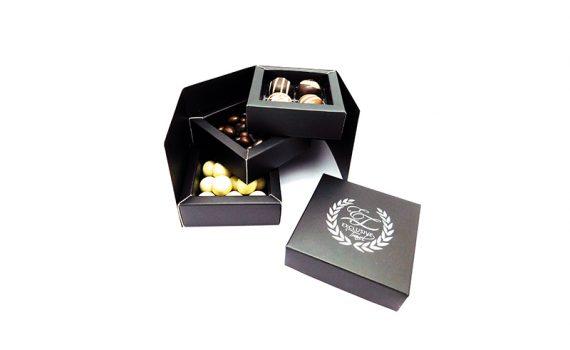 Triple mini box with chocolate
