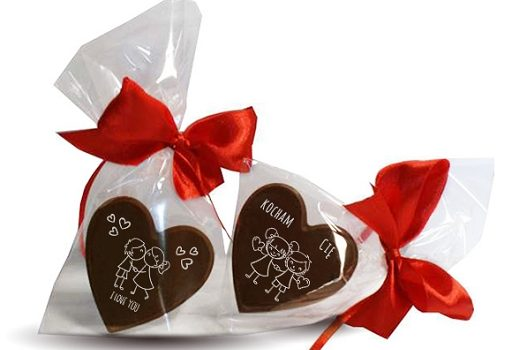 Valentine chocolate heart with ribbon