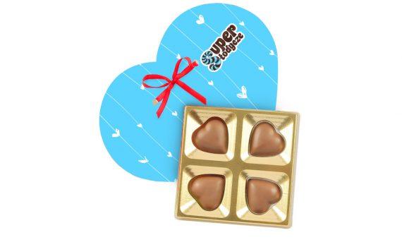 Valentine set of 4 chocolate hearts 48 g