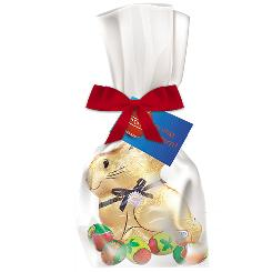 Chocolate Easter bunny with chocolate eggs 100g, organic foil flat bag