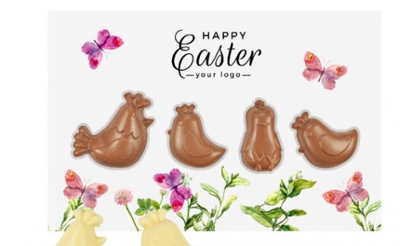 Easter Card with chocolate figure hens