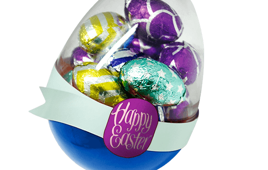 Easter chocolate eggs in egg shaped box