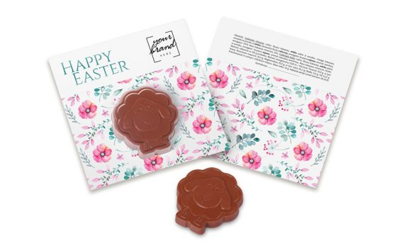 Easter chocolate in shape of lamb in transparent blister.