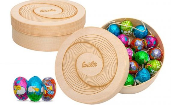 Easter set mini 19 chocolate eggs in round wooden box