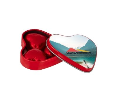 Promotion Heart shaped tin with 3 chocolate hearts