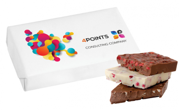 Promotion chocolate bar with fruits pieces 80 g