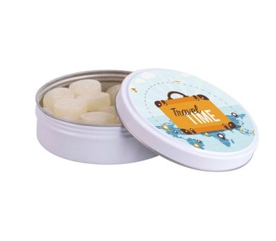 Promotion round tin fruit sweets 60 g